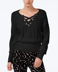 Bar Iii Ribbed Lace Up Sweater Only At Macy's Deep Black