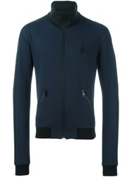 Dolce And Gabbana Embroidered Crown Zip Cardigan Blue