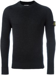 Stone Island Ribbed Knit Jumper Grey