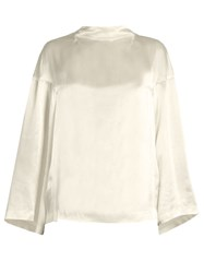 Toga Bell Sleeved Satin Blouse Ivory