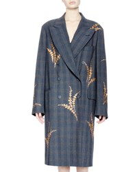 Dries Van Noten Romeo Embroidered Check Plaid Coat Charcoal
