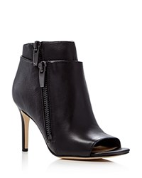 Via Spiga Vanetta Leather High Heel Open Toe Booties Black