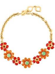Yves Saint Laurent Vintage Floral Appliqua Necklace Red