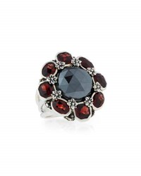 Stephen Dweck Verona Hematite And Garnet Flower Ring Black