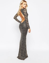 City Goddess Backless Maxi Dress In Sequin Lace Black