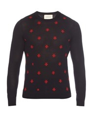 Gucci Long Sleeved Bee Intarsia Wool Sweater Navy Multi