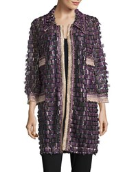 Anna Sui Sequined And Fringed Open Tunic Purple
