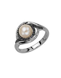 Lord And Taylor Sterling Silver Pearl Black Diamond Ring