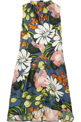 Marni Floral Print Silk Dress Blue