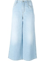 Ermanno Scervino Wide Legged Cropped Jeans Blue