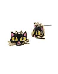 Betsey Johnson Cat Stud Earrings Black
