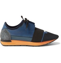 Balenciaga Suede Trimmed Mesh Leather And Neoprene Sneakers Blue