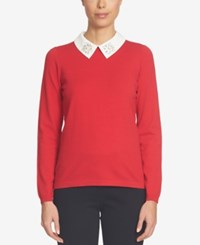 Cece Embellished Collared Sweater Radiant Red
