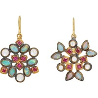 Judy Geib Ruby Opal And Moonstone Kaleidoscope Earrings