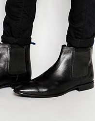 Asos Chelsea Boots In Black Leather With Blue Back Pull Black