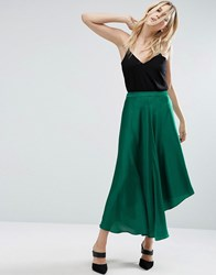 Asos Midi Skirt In Satin With Splices Green