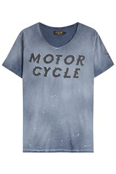 Rude Riders Motorcycle Cotton T Shirt Blue