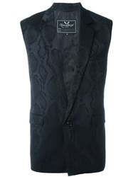 Unconditional Snake Skin Effect Waistcoat Black