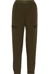 Vionnet Stretch Wool Tapered Pants Green