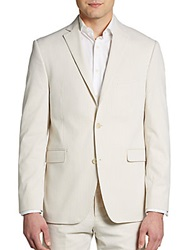 Saks Fifth Avenue Red Trim Fit Seersucker Sportcoat Tan