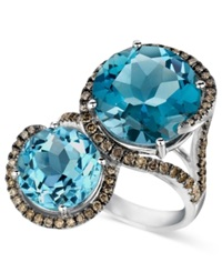 Le Vian Blue Topaz 8 3 8 Ct. T.W. And Chocolate Diamond 5 8 Ct. T.W. 2 Stone Ring In 14K White Gold