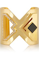 Kilian Lights And Reflections Gold Plated Swarovski Crystal And Onyx Cuff