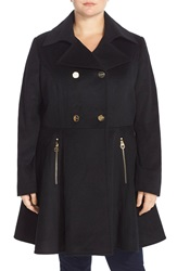 Laundry By Shelli Segal Double Breasted Skirted Wool Blend Coat Plus Size Black