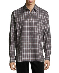 Ike Behar Check Sport Shirt Brown Blue