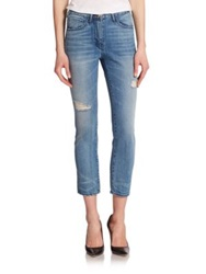3X1 High Rise Distressed Straight Leg Jeans Mcqueen