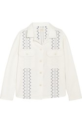The Great Oversized Embroidered Cotton Blend Jacket White