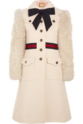 Gucci Faux Shearling Paneled Cotton Blend Tweed Coat Ivory