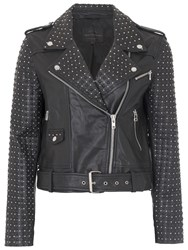 French Connection Chaos Leather Biker Jacket Black