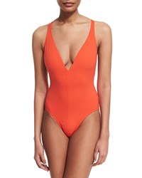 Proenza Schouler Plunge Neck Solid One Piece Swimsuit Women's Size M Electric Coral