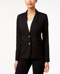 Charter Club Petite Two Button Blazer Only At Macy's Deep Black
