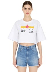 Chiara Ferragni Cropped Flirting Cotton Jersey T Shirt