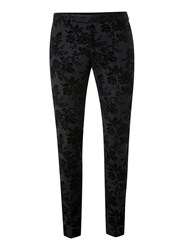 Topman Noose And Monkey Grey Textured Floral Print Suit Trousers