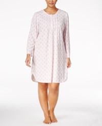 Miss Elaine Plus Size Printed Honeycomb Knit Nightgown Pink Paisley