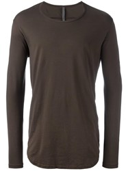 Attachment Long Sleeved Curve T Shirt Green