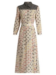 Bottega Veneta Bricks Print Silk Crepe Midi Dress White Multi