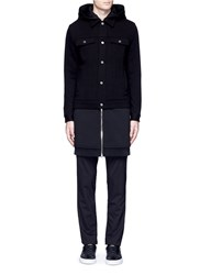 Givenchy Double Layer Wool Hood Parka Black