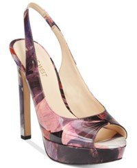 Nine West Valorie Slingback Peep Toe Pumps Women's Shoes Purple Multi Patent