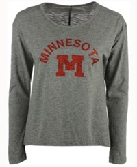 Retro Brand Women's Minnesota Golden Gophers Glitter Arch Long Sleeve T Shirt Heather Gray