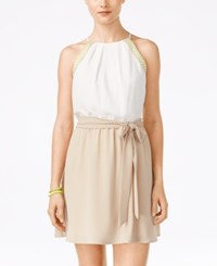Teeze Me Juniors' Embroidered Colorblocked Halter Dress Off White Beige