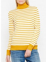 Tommy Hilfiger Havera Striped Roll Neck Jumper Yellow