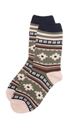 Madewell Rustic Pattern Trouser Socks Army Green