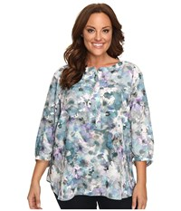 Nydj Plus Size Solid 3 4 Sleeve Pleat Back Winter Frost Petals Women's Long Sleeve Button Up