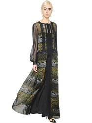 Alberta Ferretti Deco Flowers Print Lace And Chiffon Dress