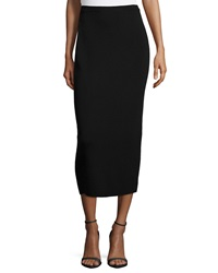 Eileen Fisher Washable Wool Midi Pencil Skirt Black