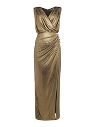 Biba Wrap Detail Metallic Maxi Dress Gold
