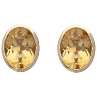 A B Davis 9Ct Yellow Gold Rubover Oval Stud Earrings Citrine